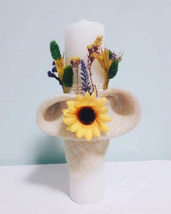 Lumanare Botez Floarea Soarelui Lucrata Manual Model III [0]