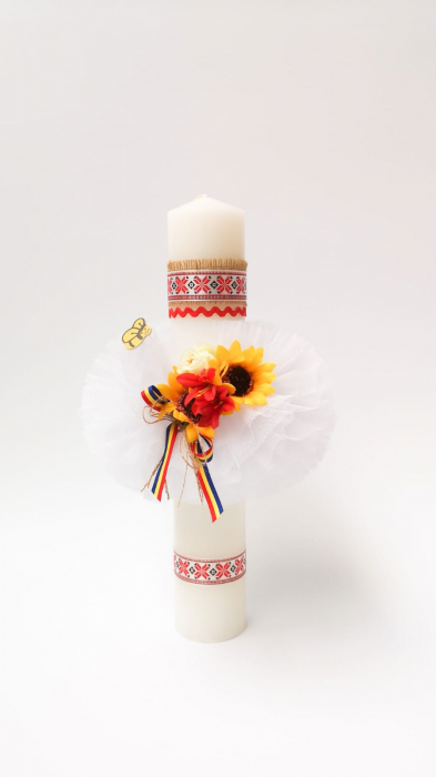 Lumanare Botez Floarea Soarelui Lucrata Manual Model VI [0]