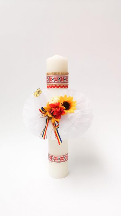 Lumanare Botez Floarea Soarelui Lucrata Manual Model VI [2]