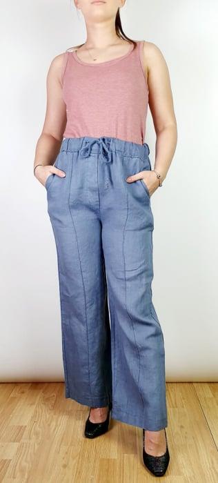 Pantaloni lungi din in - Gabi - Albastru indigo [0]