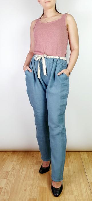 Pantaloni lungi din in - Gabi - Albastru metalic [0]