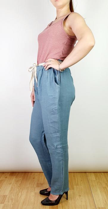 Pantaloni lungi din in - Gabi - Albastru metalic [1]
