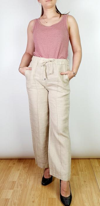 Pantaloni lungi din in - Gabi - bej [0]