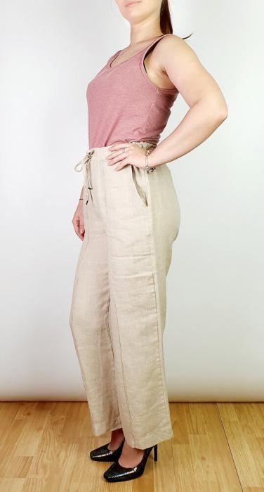 Pantaloni lungi din in - Gabi - bej [1]