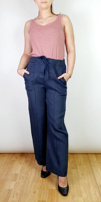 Pantaloni lungi din in - Gabi - bleumarin [0]