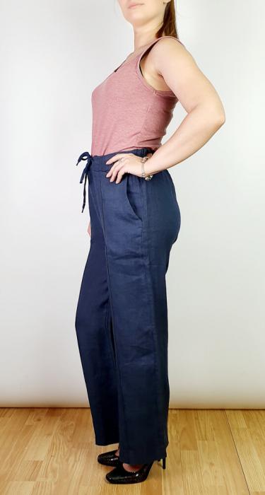 Pantaloni lungi din in - Gabi - bleumarin [1]
