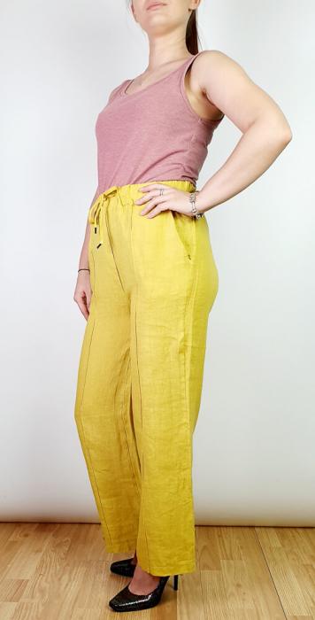 Pantaloni lungi din in - Gabi - galben [1]