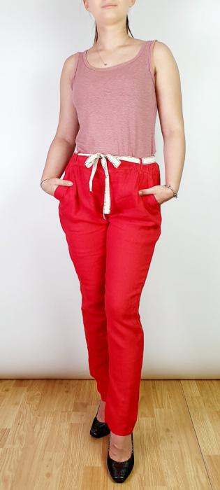 Pantaloni lungi din in - Gabi - Rosu [0]
