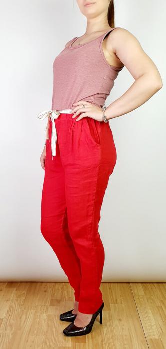 Pantaloni lungi din in - Gabi - Rosu [1]