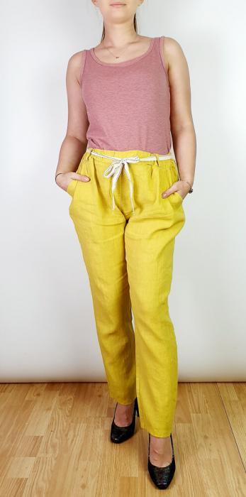 Pantaloni lungi din in - Galben II [0]