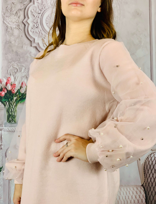 Pulover Dama - Maneci Bufante - Roz [1]