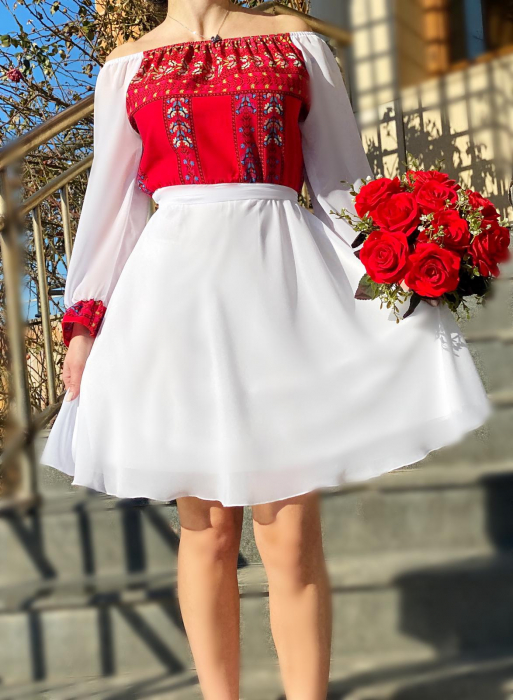 Rochie alba cu motive traditionale Adriana [0]