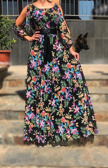Rochie cu imprimeu floral- lunga [1]