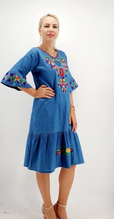 Rochie din Denim traditionala Sanda 58 [4]