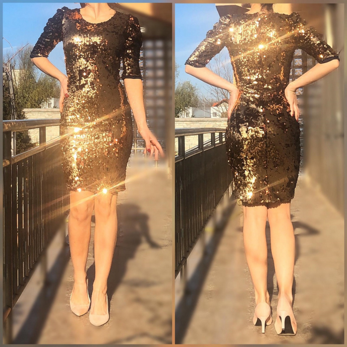 Rochie eleganta aurie cu paiete [0]