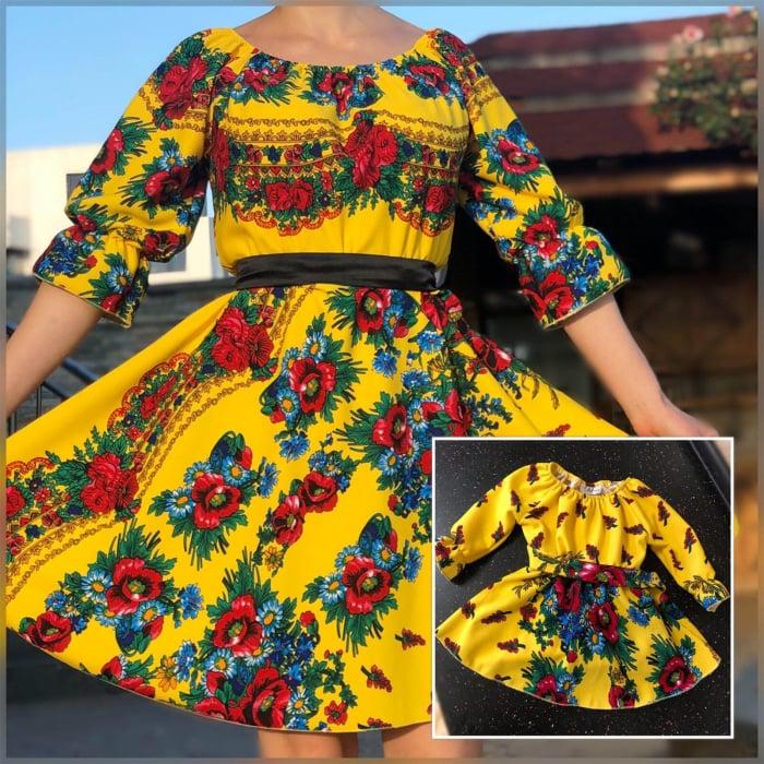 Set rochii cu motive florale - Mama si Fiica - Galben [0]