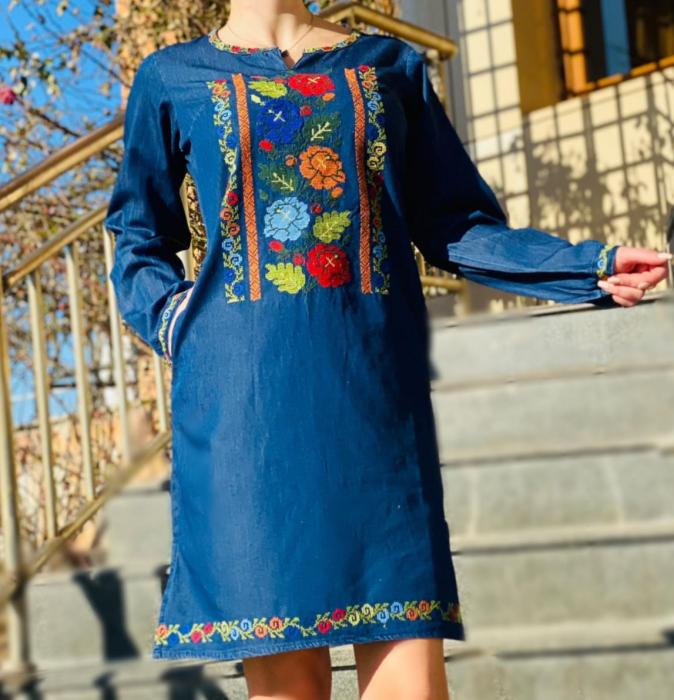 Rochie Traditionala din denim Cezara [4]