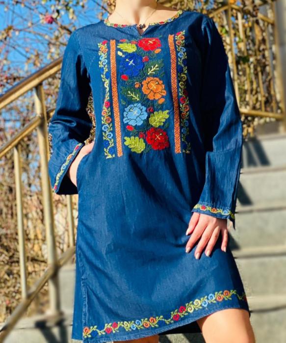 Rochie Traditionala din denim Cezara [3]