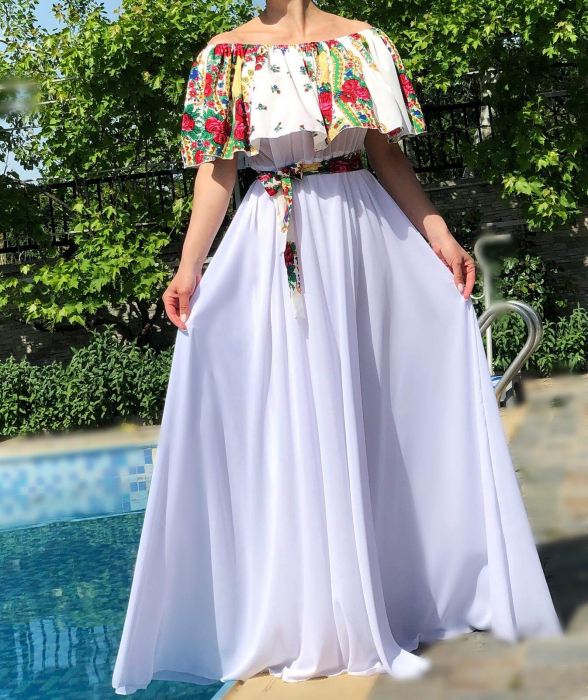 Rochie stilizata cu motive florale Natasha [3]