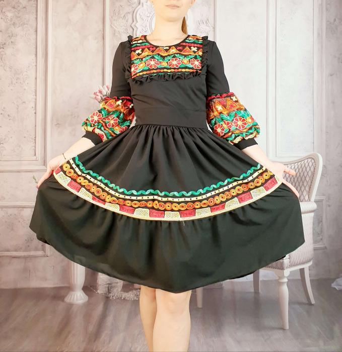 Rochie stilizata cu motive traditionale - Constantina [0]