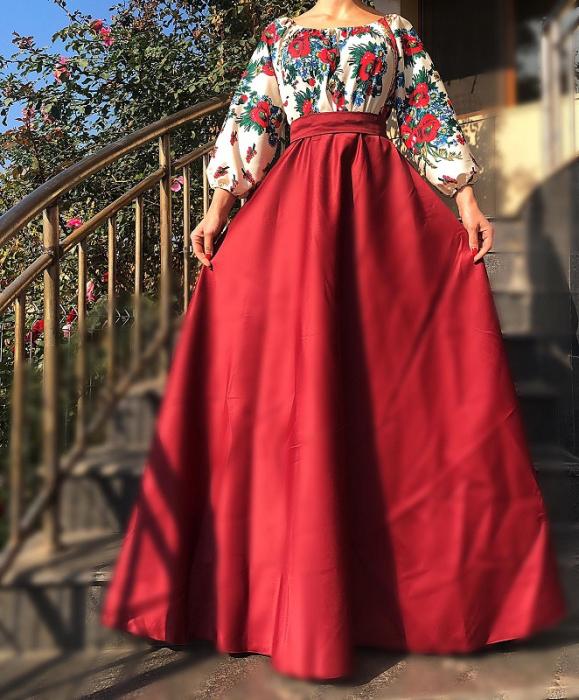 Rochie stilizata cu motive traditionale cu bujori 17 [1]