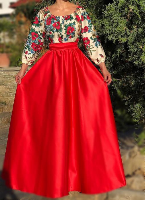 Rochie stilizata cu motive traditionale lunga cu maci 10 [0]