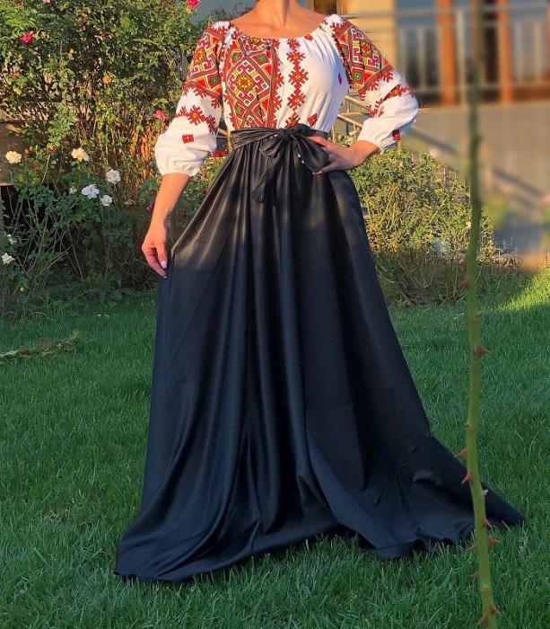 Rochie stilizata cu motive traditionale lunga - Laura 15 [1]