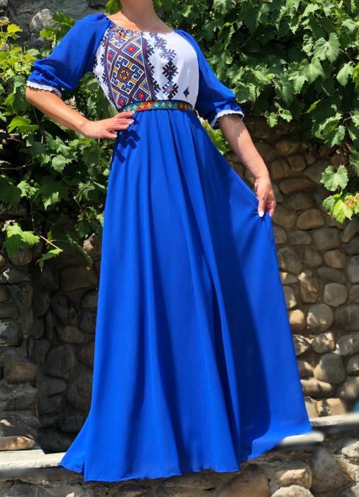 Rochie stilizata cu motive traditionale lunga Magdalena [1]
