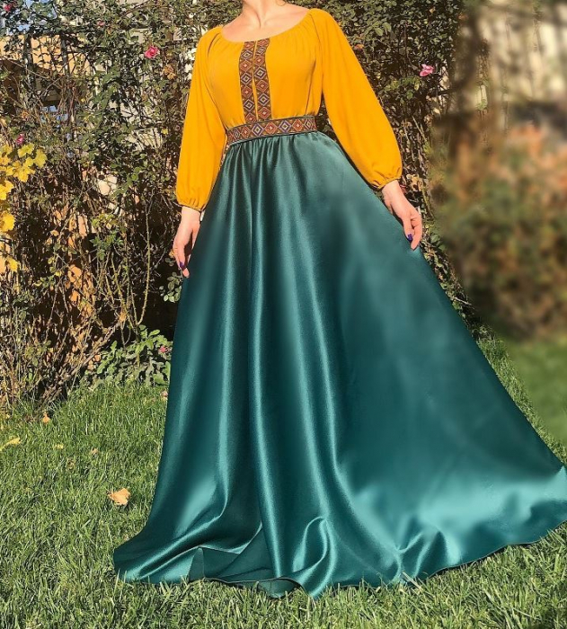 Rochie stilizata cu motive traditionale lunga Margareta [0]