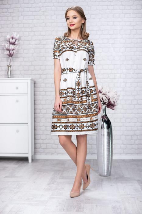 Rochie stilizata cu motive traditionale Madlen 0