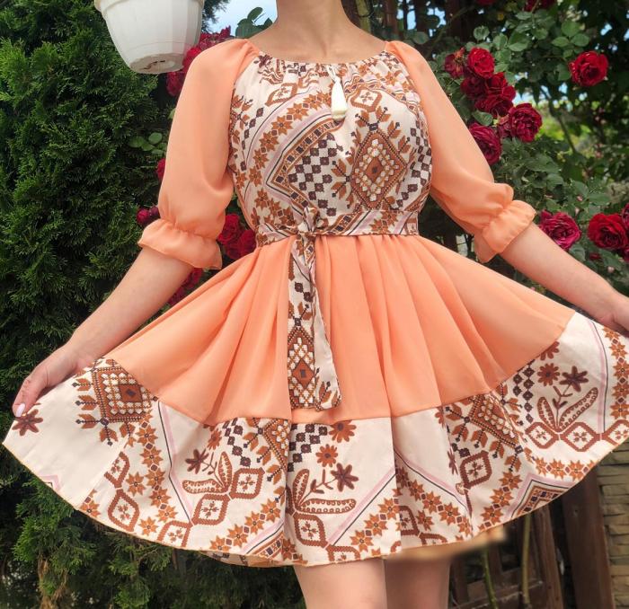 Rochie stilizata cu motive traditionale Miruna [2]