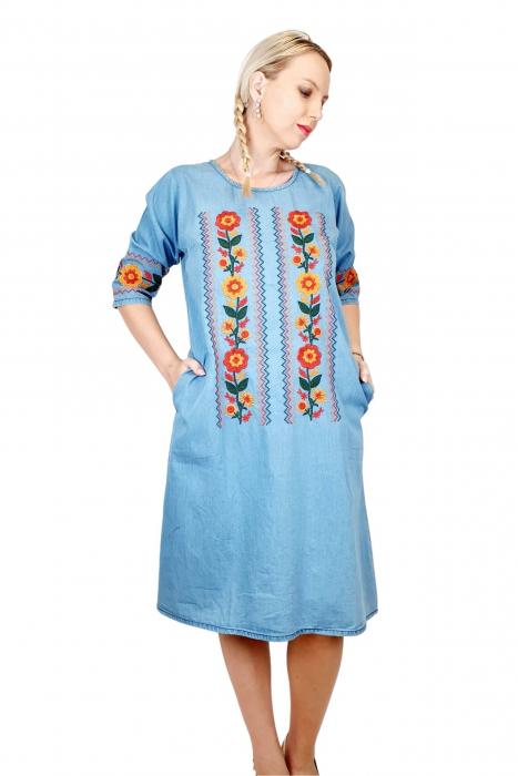 Rochie Traditionala din denim Sanda 32 [3]