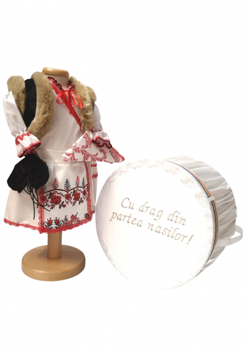 Set Botez Traditional – Miriam – 2 piese / costumas si cufar brodat [0]