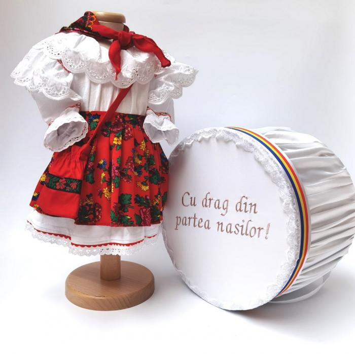 Set Botez Traditional - Adeline 4 - 2 piese / costumas si cufar brodat [0]