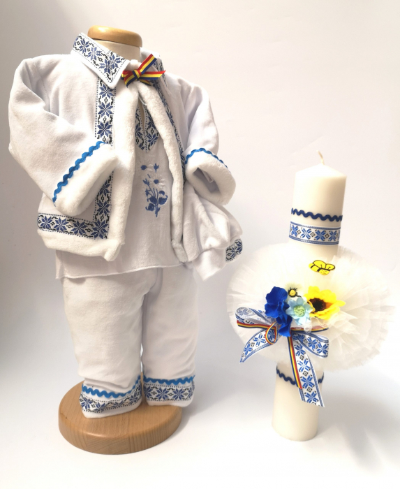Set Botez Traditional Raul 13 – 2 piese / costumas traditional si lumanare botez Traditional [0]