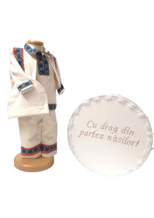 Set Botez Traditional Adi 4 – 2 piese / costumas traditional si cufar brodat botez 0