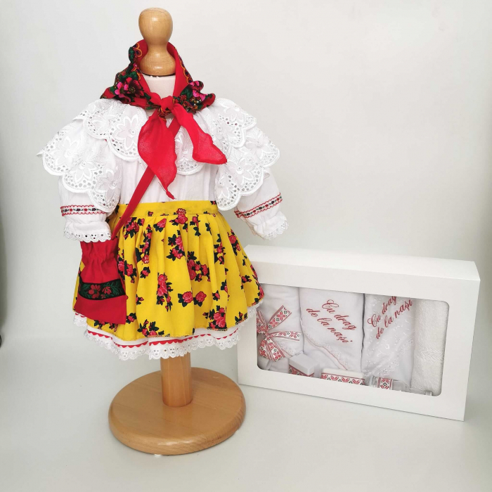 Set Botez Traditional – Costum Traditional Fetite Floral 3 - 2 piese / costumas si trusou brodat [0]
