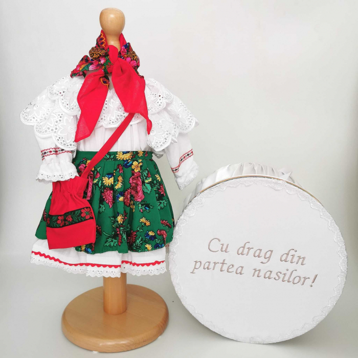 Set Botez Traditional – Costum Traditional Fetite Floral 2 - 2 piese / costumas si cutie botez [0]