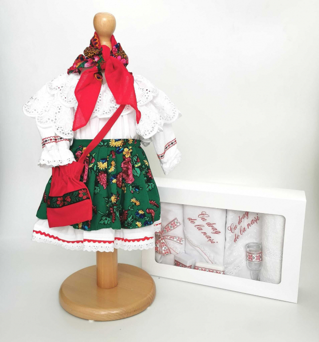 Set Botez Traditional – Costum Traditional Fetite Floral 2 - 2 piese / costumas si trusou brodat [0]