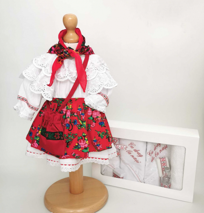 Set Botez Traditional – Costum Traditional Fetite Floral - 2 piese / costumas si trusou brodat [0]