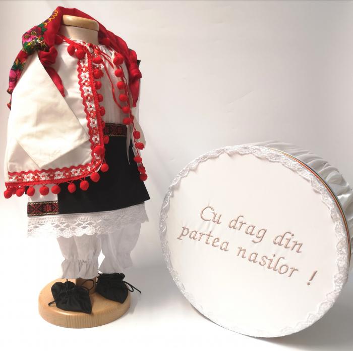 Set Botez Traditional – Delia – 2 piese / costumas si cufar brodat [0]