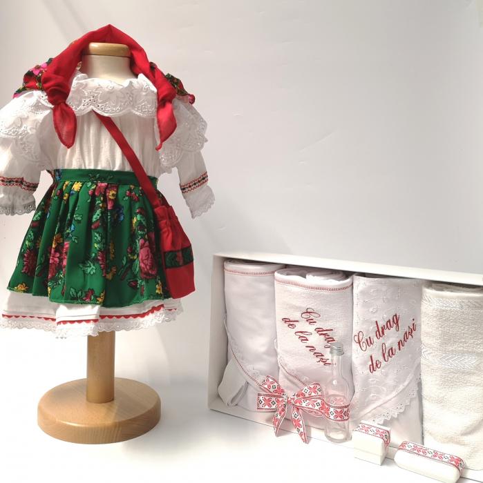 Set Botez Traditional – Costum Traditional Fetite Verde - 2 piese / costumas si trusou brodat [0]