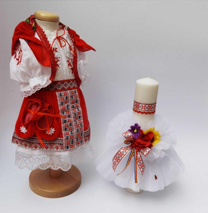 Set Botez Traditional - Marina 5  - 2 piese/ Botez Traditional : costumas si lumanare [0]