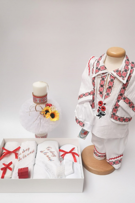 Set Botez Traditional Raul 5 - 3 piese / Botez Traditional: trusou, lumanare,  costumas [0]