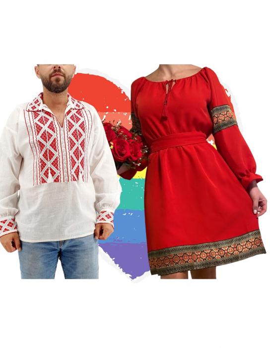 Set Cuplu Traditional 157 / Camasa Traditionala si Rochie cu motive traditionale [0]