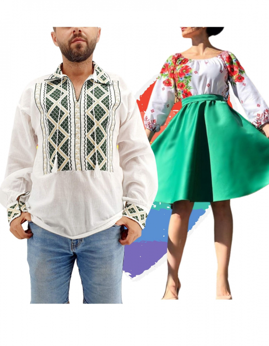 Set Cuplu Traditional 160 / Camasa Traditionala si Rochie cu motive traditionale [0]