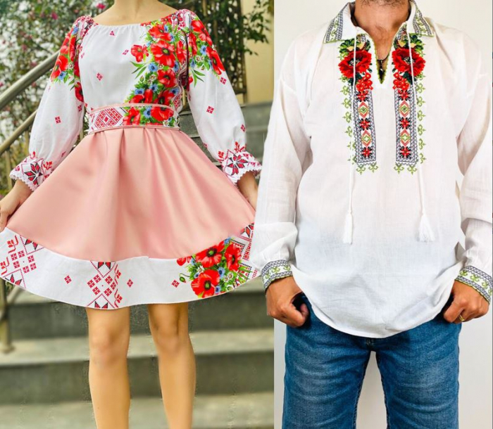 Set Cuplu Traditional 77 / Camasa Traditionala si Rochie cu motive traditionale [0]