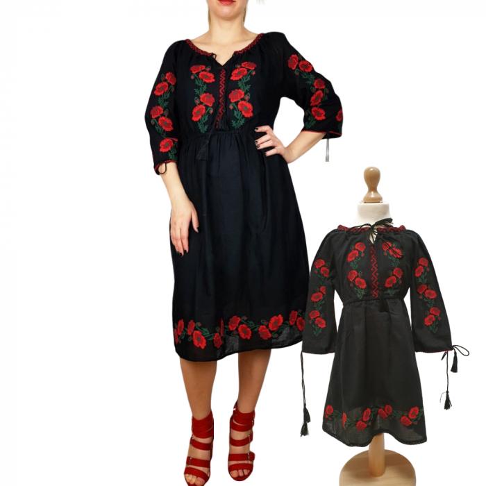 Set Mama si Fiica Rochii traditionale cu maci - 3 / rochie mama si rochita fetita 0