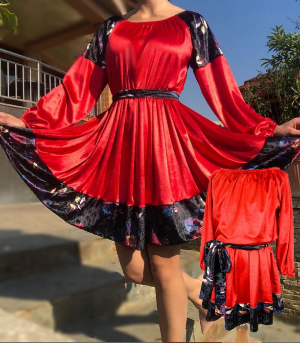 Set Rochii elegante Mama - Fiica din catifea rosie [0]