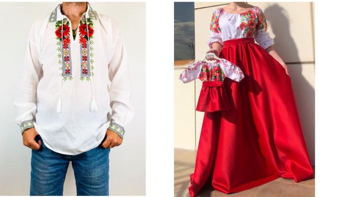 Set Traditional cu maci - Familie / Camasa , rochie mama si rochita fetita [0]